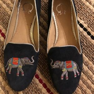 c. wonder // elephant embroidered loafers flats